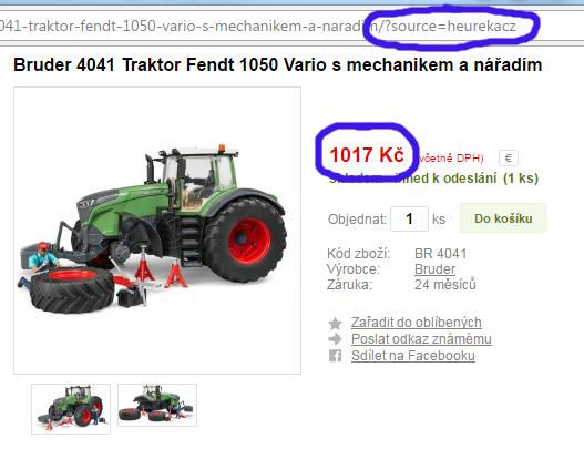 Po odklinutí z Heureky je cena nižší (1 017 Kč). Všimněte si také parametru v URL adrese