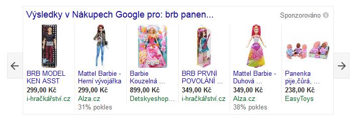 Ukázka Google Nákupy