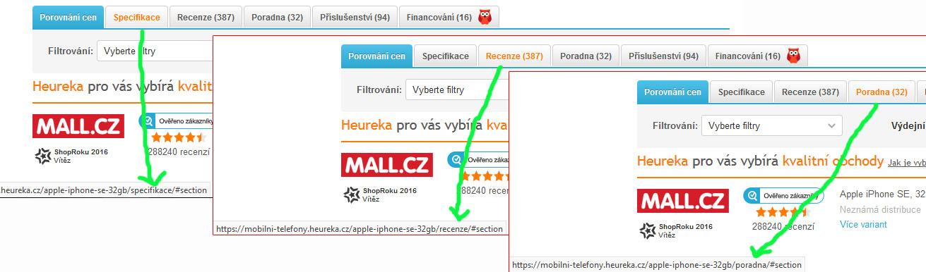 Heureka: každá záložka má vlastní stránku (specifickou URL)