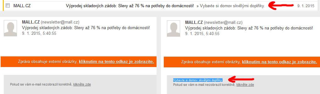 Mall.cz první řádek před uživateli skrývá pomocí shodné barvy písma a pozadí.