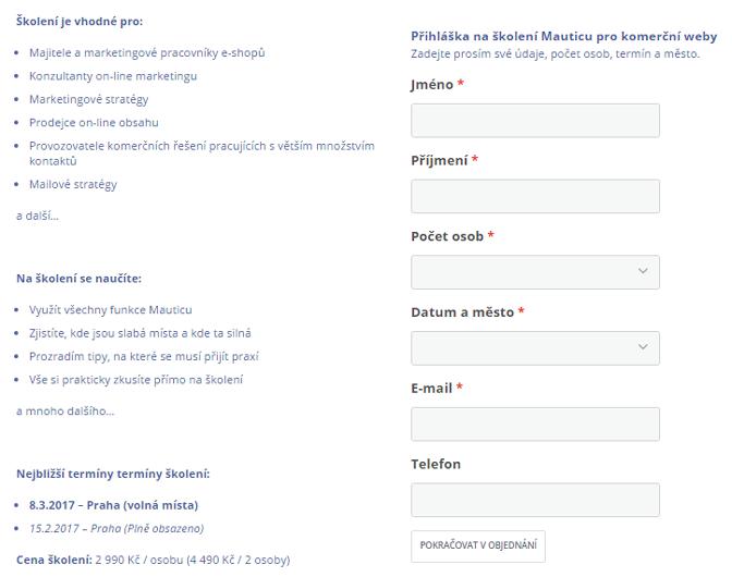 Mautic umožňuje vložení formuláře na váš web (ukázka, jak Honza vytvořil registrační formulář na školení)