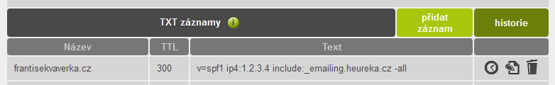 Ukázka nastavení SPF záznamu u Active 24