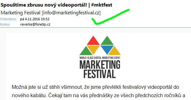 Marketing Festival také používá MailChimp, ale odesilatel se mu zobrazuje v pořádku, protože má vše správně nastavenno